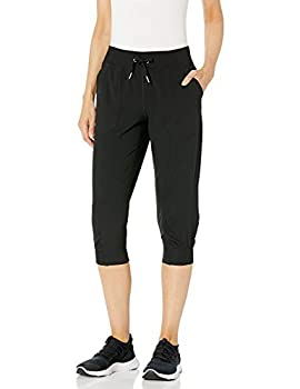 Calvin Klein Women s Premium Performance Rib Cuffed Capri Pant  Standard and Plus  Black Medium