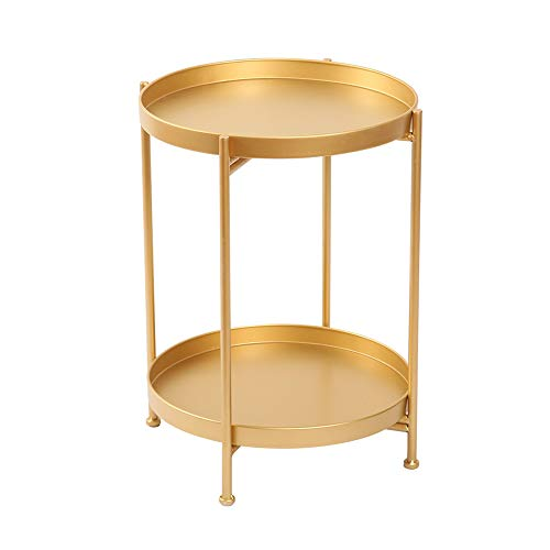 YNN Table d'appoint Ronde de Sofa de Fer forgé de Table Basse, très appropriée à la Chambre 36.5 * 51CM de Balcon de Salon (Couleur : Or)