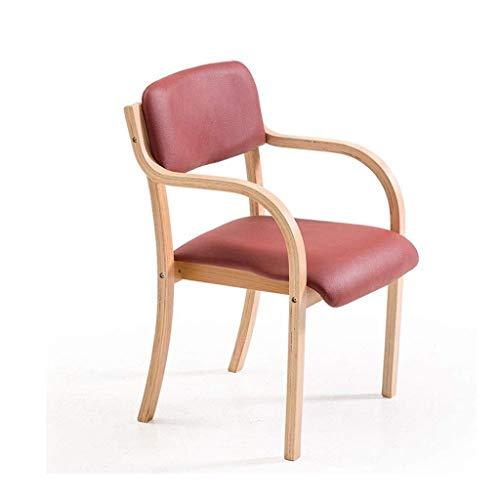 Zfggd Marco de Madera sillas de Comedor de Madera con apoyabrazos, Cojines de Color Burdeos y sillones de Respaldo, se Puede Utilizar for el hogar y la Empresa de Comedor de Mesa/Maquillaje/aprend