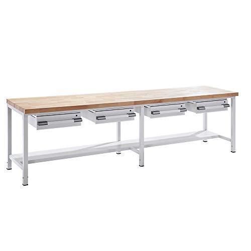 EUROKRAFTpro Werkbank | Arbeitstisch | Werktisch | Packtisch, höhenverstellbar mit Schubladen Breite 2000 mm, grau