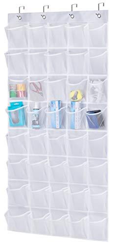 AOODA Over The Door Hanging Pantry Snack Organizer 40 Mesh Pockets Kids Shoe Rack Hanger Holder For Closet, White