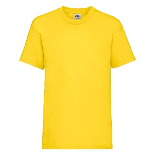 Fruit of the Loom - Camiseta básica de Manga Corta para niño/niña Unisex - 100% Algodon de Primera Calidad (Paquete de 2) (3-4 años) (Amarillo)