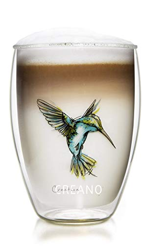 Creano doppelwandiges Tee-Glas, Latte Machiato, Thermobecher Kolibri | 250ml in exklusiver Geschenkbox, blau