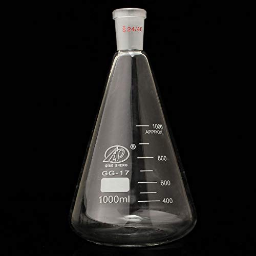Yangzz229 Laborglasflasche 1000 ml 24/40 Chemie Grundfuge konische Flasche Laborglas Glas Erlenmeyerkolben graduiert