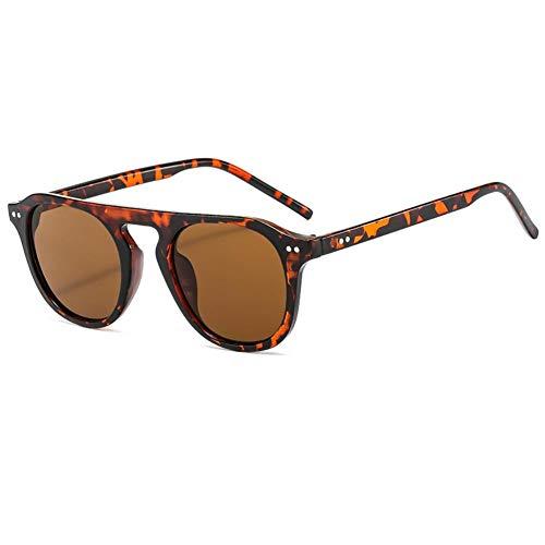 DovSnnx Gafas De Sol Unisex para Hombres Y Mujers Polarizadas Protección UV400 Clásico Vintage Moda Sunglasses Lente De Té con Montura De Leopardo Ovalada