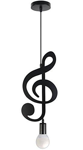 Vetrineinrete Lampadario pendente a sospensione a forma di chiave di violino o nota musicale nero opaco portalampada attacco e27 max 60 watt arredamento casa (Chiave di violino)