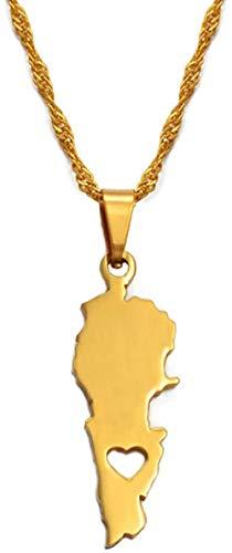 Yaoliangliang Mapa del país del Líbano Collares Pendientes Joyas de Color Dorado Mapas del Líbano del Líbano