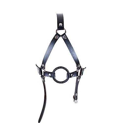Harness Mund-Plug Schwarz Leder Kopfbedeckung Maske Spielzeug für Paare