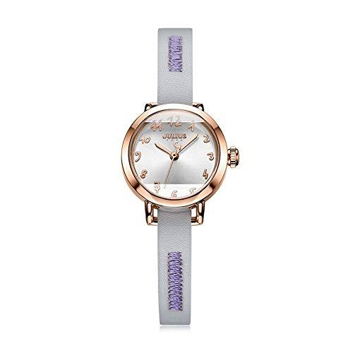 CHENDX Reloj de Color Caramelo de la Manera de Julio-Correa del dial Grande Simple Watche Exquisito de la Correa de Cuero Impermeable Forma Femenina (Color : D)