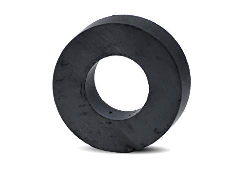 Magnastico Ringmagnete Ferrit Y35 Keramik Magneten unbeschichtet Schwarz Magnetring Industriemagnete Haftkraft stark Supermagnete mit Loch Größe wählbar (45 x 22 x 09mm)