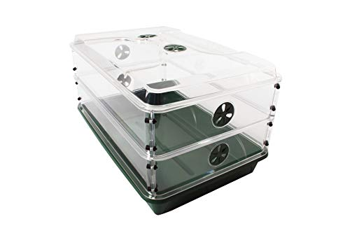 """EarlyGrow 93807 24"""" x 15"""" x 12.75"""" Domed Propagator with 2 Height Extenders, Green"""