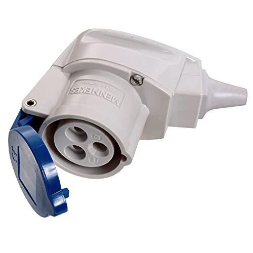 as - Schwabe Raccordo angolare CEE Caravan – 230 V/16 A – Connettore da campeggio in termoplastica – per roulotte e camper – Adatto per esterni – IP44 – Made in Germany – Blu I 60475