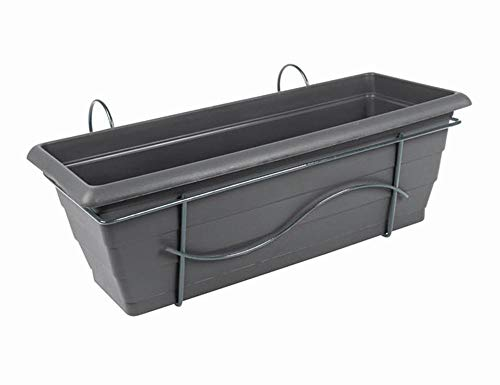 FloraSun® 4er Set Balkonkästen aus Metall/Kunststoff, 50 x 17 x 17,5 cm, mit Halterung und Wasserspeicher, bis 15 kg, 10 L Fassungsvermögen, anthrazit