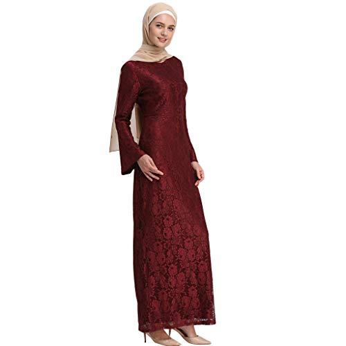 TWIFER Spitze Muslimische Maxikleid Damen Trompete Ärmel schlank langärmelige Mode Sommer Bestickt Kleid