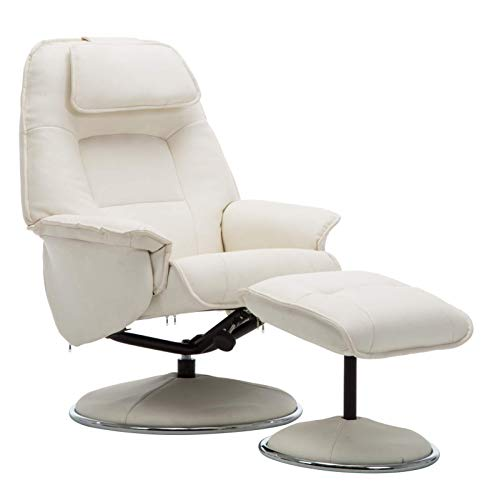 The Avant Garde Plush Leather Swivel Recliner Chair & Matching Footstool in White