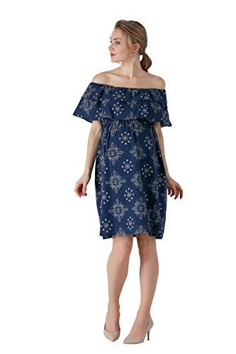 M.M.C. Blaues Carmen Umstands-Kleid mit Mustern - Schulterfreies Schwangerschaftskleid mit Volant Freizeitkleid Schwangerschaft Abendkleid Partykleid - Knielang (Blau, 38)