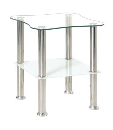 Haku-Möbel 33310 Beistelltisch 40 x 40 x 47 cm, Edelstahl/weiß