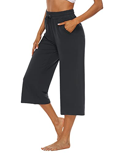 OYANUS Womens Yoga Capri Pants Wide Leg Loose Comfy Draswtring Lounge Pants Capris with Pockets Darkgray L