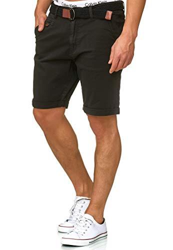 Indicode Herren Kidd Chino Shorts mit 5 Taschen inkl. Gürtel aus 98% Baumwolle | Kurze Hose Regular Fit Bermuda Stretch Herrenshorts Short Men Pants Sommerhose kurz für Männer Black L