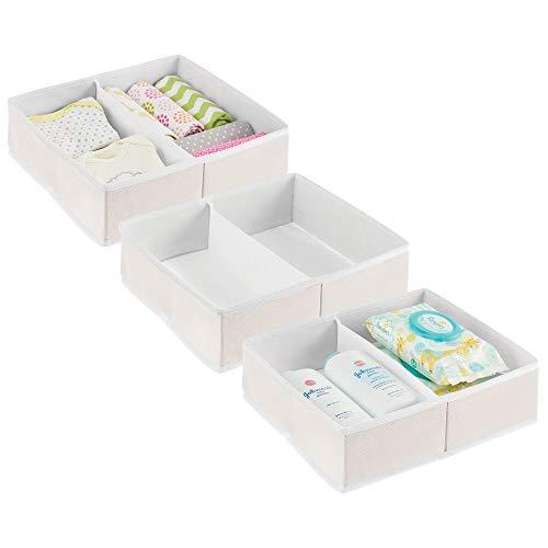 mDesign Juego de 3 Cajas para almacenar Ropa, Cosas de bebé, etc. – Organizador de cajones de Tela para Cuarto Infantil – Cesta organizadora para armarios con 2 Compartimentos – Color Crema/Blanco
