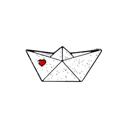 Broche de papel de origami, diseño de avión y barco, esmaltado, color blanco, para amantes de la artesanía
