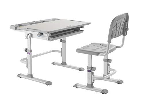 CUBBY Disa Grey Kinderschreibtisch höhenverstellbar Schülerschreibtisch neigungsverstellbar mit Stuhl, Grau, 830 x 505 x 526-746 mm