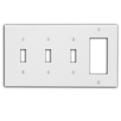 Leviton P326-W 4-Gang 3-Toggle 1-Decora/GFCI Device Combination Wallplate, White