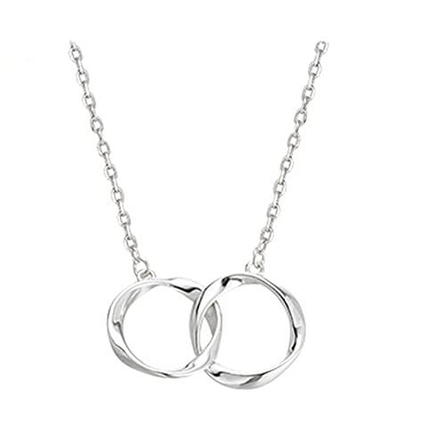 HCMA Collar de Doble círculo de Plata para Mujer, Cadena de clavícula de Temperamento Simple, joyería de Fiesta