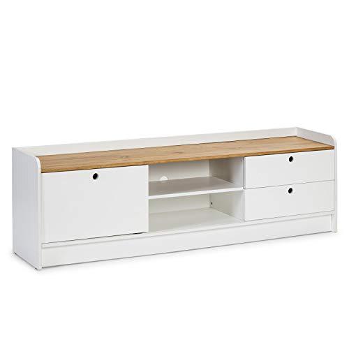 VS Venta-stock Mueble TV Marla 2 Cajones y 1 Puerta, Color Blanco, Madera Maciza, 160 cm (Largo) 37 cm (Profundo) 51 cm (Alto)