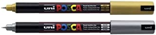 Uni-Ball Uniball POSCA PC-1MR Ultra Fine Marker Pens GOLD & SILVER PACK of 2