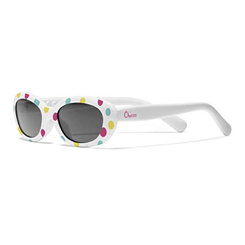 Chicco - Gafas de Sol Infantiles Para Bebés De 0 meses, Con Montura flexible y Lentes Anti Arañazos, Color Blanco, Estampado Puntos