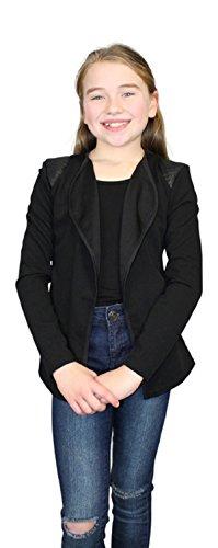 Ozmoint Kids Kindermeisjes Getextureerde Stof Open Front Lange Mouw Vest Gillet met Zwarte Patches Op Schouder Detail Top