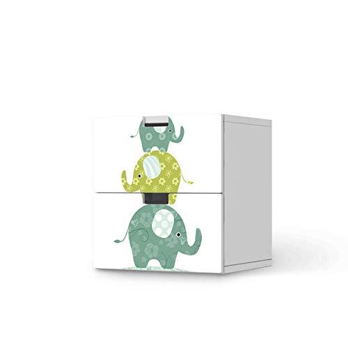 creatisto Möbeltattoo für Kinder - passend für IKEA Stuva Kommode - 2 Schubladen I Tolle Möbeldekoration für Baby-Zimmer Deko I Design: Elephants
