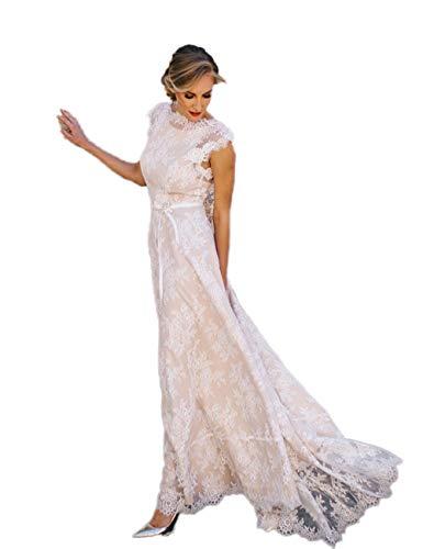 Aoturui, vintage bruid, kant, strand, bruiloftsjurk, zonder rug, sexy, bruidsjurk, jurken, open rug, kapmouwen, bruidsjurk