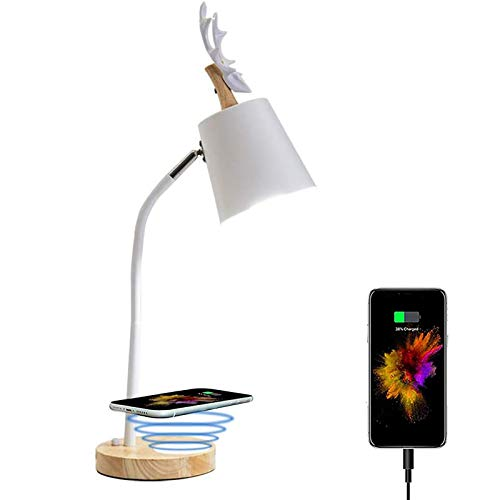 WOERD Lámpara de Escritorio LED con Cargador Inalámbrico Lámpara de Mesa Plegable de Escritorio Control Táctil Protege a Ojos Lámpara de Oficina para Estudio Oficina