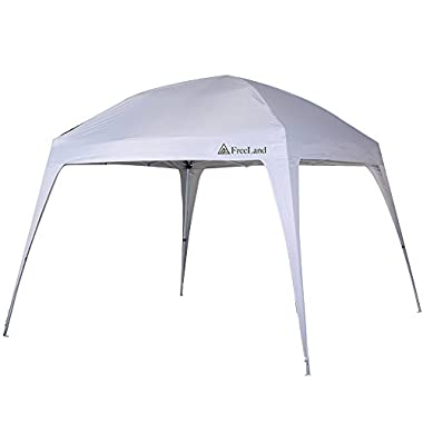 Freeland Pop up Canopy Tent for Camping, Beach Shade, 10 x 10 ft Base, 8 x 8 ft Canopy, White
