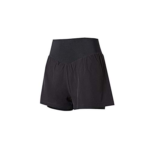 Pantalones cortos de fitness para mujer, de moda, sueltos, para yoga, para correr, para ciclismo, Negro, S