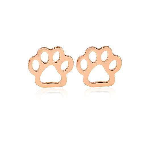 yichahu Pendientes de acero inoxidable con diseño de huellas de animales, diseño de pata de mascota, color oro rosa, joyería punk, perro o gato