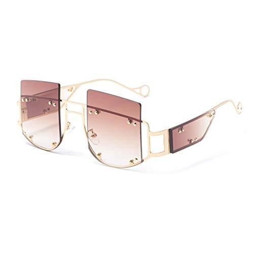 FIFY Punk Box Schutzbrille weibliche Flut Rihanna Big Frame Sonnenbrille Damen europäische und amerikanische Sonnenbrille-D