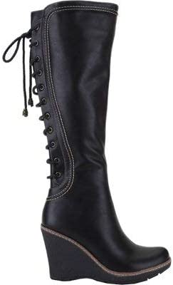 ANN CREEK 'Camuy' Stitching Back Lace Knee-High Wedge Boots Black