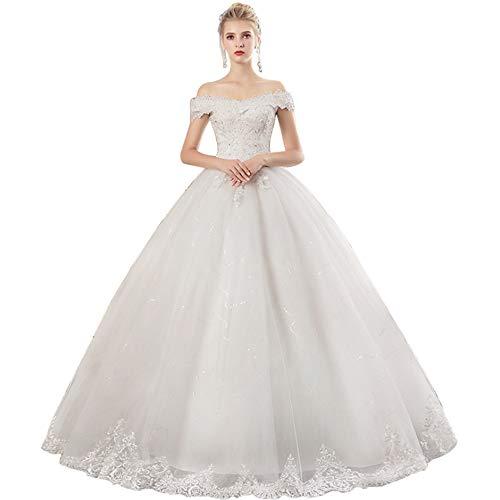 Bruid trouwjurk, dames lang romantische kanten applicatie met verstelbare bandjes, wit
