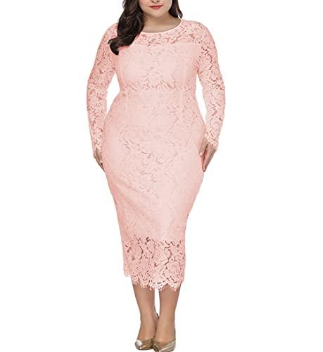 Eternatastic Women's Floral Lace Long Sleeve Plus Size Dress for Christmas Dress Pink 3XL