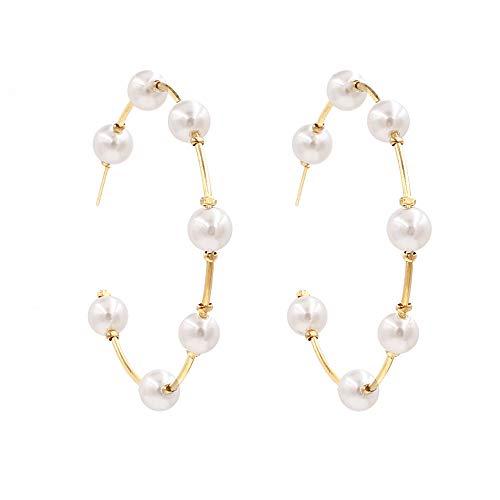 OTTOPT Pearl Hoop Earrings for Women Fashion Drop Dangle Earrings Gifts for Women and Girls