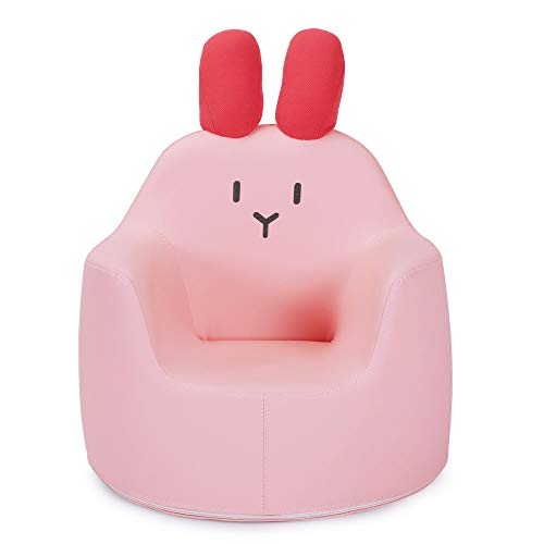 PlayMaty Children's Chair - Fun Animal Sofa, Rabbit Cartoon Armchair with Foam and PU Surface, Children's Padded Seats, Light Children's Furniture Toys Gifts for Boys and Girls(Pink)