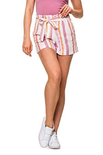 Vero Moda Vmtavi NW Shorts Wvn Pantalones Cortos, Multicolor (Snow White Stripes: Foxglove Stripes), 40 (Talla del Fabricante: Medium) para Mujer