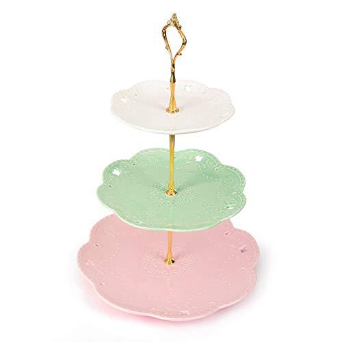 Malacasa, series Sweet.Time, Soporte de la Torta, Puesto de Servicio, Porcelana de 3 Pisos Redondo Placa