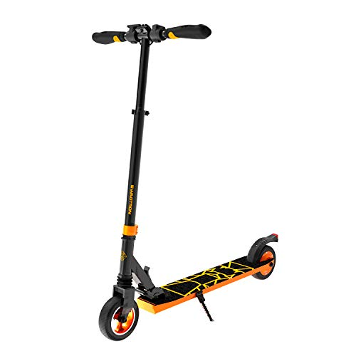 Swagtron Swagger 8 Folding Electric Scooter for Kids & Teens | Lightweight E-Scooter w/Kick-to-Start, Cruise Control | Adjustable Stem, Suspension, Quiet Motor (IPX4) (Orange)