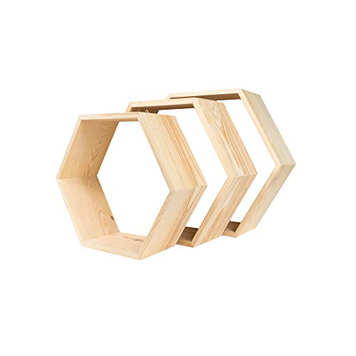MadeForHome - Estantería de Madera con Forma de hexágono y estantes en Forma de Panal (3 Unidades)
