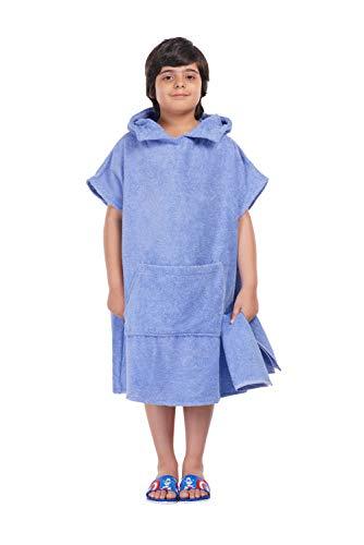 ALLEN & MATE Kids 100% Baumwollkapuzen-Handtuch Badeponcho für Kinder, Poncho mit Taschen ideal zum Schwimmen, Urlaub, Strand, Surfen und Baden (Blau, 10-13 Jahre)