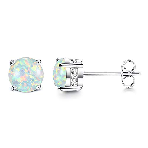Adramata Opal Stud Earrings 18K White Gold Plated Stainless Steel Post Round Cut Created White Opal Stud Earrings for Women 6MM
